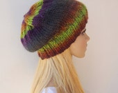 Knit hat Womens Hat Hand Knit Beanie  Knit Slouch Hat Purple knit hat Purple beanie Purple hat