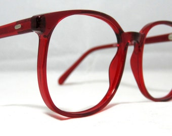 Vintage 80s Oversized Square Eyeglass Frames. Cherry Garnet Red. Large.