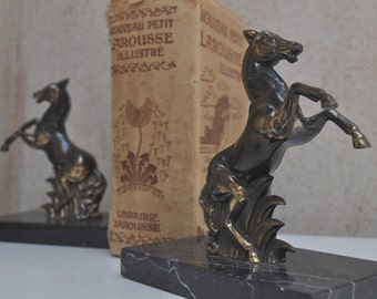 Vintage French Marble and Regule Bookends - Horses on Marble Plinths - Paperweight, Decor