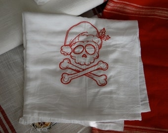 Skull and Crossbones Christmas  Embroidered Towel InYourBones
