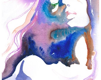 "Print of Watercolor Painting, fashion Illustration - Titled: Magique 13""x 19"""