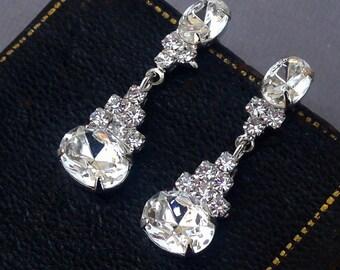 Casual Elegance, Vintage 1980s Crystal Clear Rhinestone Post Earrings