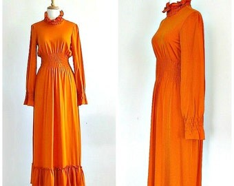 Vintage Orange Maxi Dress - 60s dress - Manning Silver -  orange wedding dress - bridesmaid - high collar - Small Medium