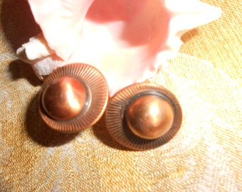 Copper Sun Earrings-Tribal Modernist- Mid Century Renoir Type Clip On Vintage Collectible Jewelry