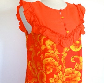 1960's Dress // 60s 70s Sunset Orange Floral Tiki Hawaiian Maxi Dress // Resort Dress