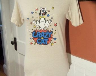 1973 CRAZY CAT Teeshirt--Silk Screen--Signed--Like Bill the Cat