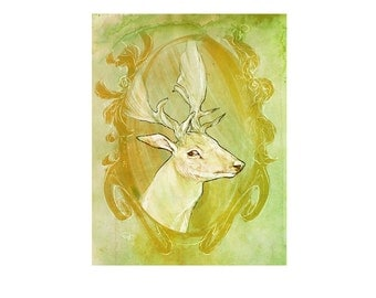 Deer Illustration 8.5 by 11 inches painted and drawn mixed media digital