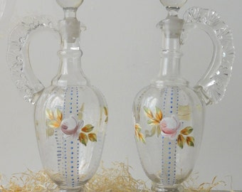 Vintage Glass Decanters Ewers Bohemian Hand Blown Painted Flowers