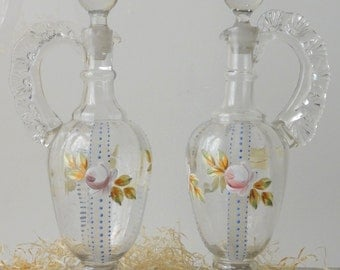 Vintage Glass Decanters Ewers Bohemian Hand Blown Painted