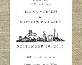 Las Vegas skyline save the date; SAMPLE ONLY