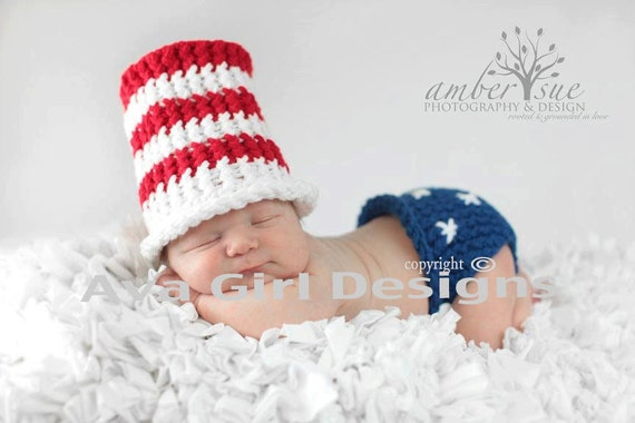 Newborn baby Uncle Sam Fourth of July patriotic hat diaper cover set red white blue