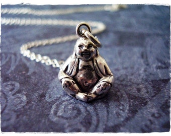 Silver Happy Buddha Necklace - Sterling Silver Happy Buddha Charm on a Delicate 18 Inch Sterling Silver Cable Chain