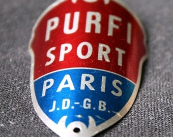 Vintage Purfi Sport cycle red and blue French bike badge