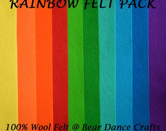 100% Wool Felt Pack Rainbow Tones- Free Shipping in Canada, 2.50 dollars to USA
