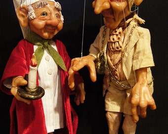 Set of  Ebenezer Scrooge and Jacob Marley's Ghost Marionettes MADE TO ORDER