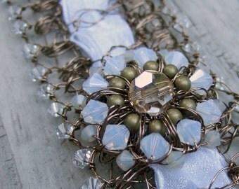 White Wedding Bracelet- Wire Crochet Bracelet- Cuff - Wire Crochet Jewelry- Swarovski Crystal Bracelet- Rustic Wedding- NeoVictorian Jewelry