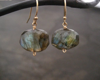 Labradorite nugget earrings - gold filled