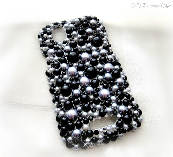 Black Pearl rhinestone phone case smartphone iphone 6 5 4 4S, decoden phone case