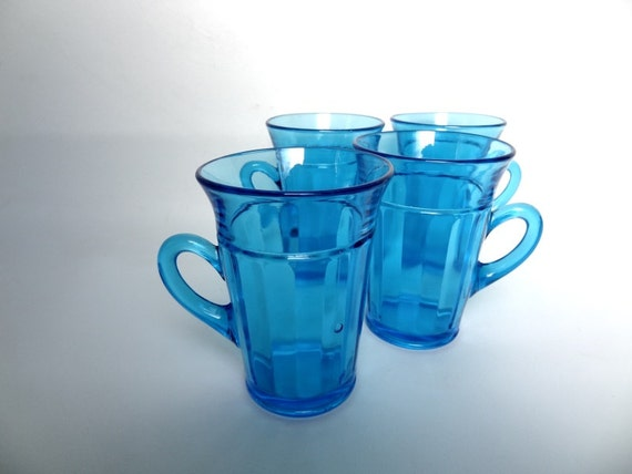 Cobalt Blue Glass Mugs set of 4 Aquamarine  Aqua Teal