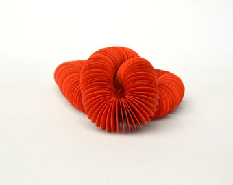 red-orange: Necklace PERLA - Made of Paper