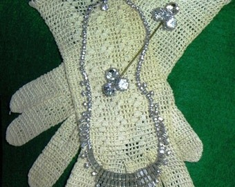 Vintage Rhinestone Necklace and Hat or Scarf Pin with Hand Crocheted Gloves (802-M)