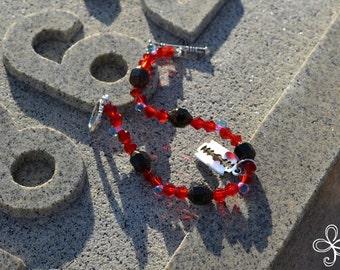 Cool Black Bead Razor Blade Charm Bracelet