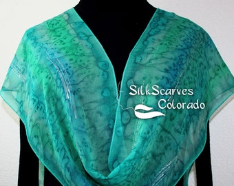 Silk Scarf Handpainted. Teal, Sage Green Hand Painted Shawl. Handmade Silk Scarf WINTER WOODS. Extra Long 11x90. Anniversary, Mother Gift