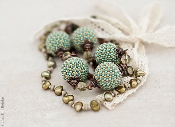 Mint Green Boho Chic Necklace with Lace Bow - Bohemian Boho Chic Jewelry, Boho Fashion