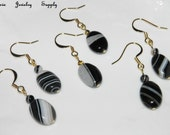 Clearance Sale ONYX AGATE Earrings Gemstone Earrings Natural Black & White Striped Oval Agate Jewelry Earring Pair On Right Is Available