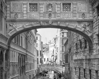 Venice, Bridge of Sighs, Black and White, Fine Art Photography, Travel, Architecture, fPOE, (6 Sizes) Framed, Canvas