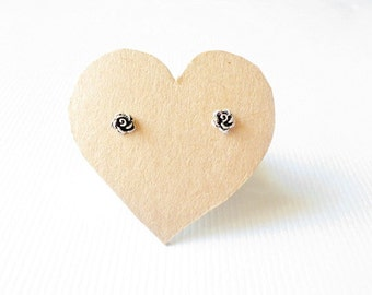 5 mm. Small Rose Bud post stud earrings. 92.5% oxidized Sterling Silver , Lovely sweet design . Gift under 10. Nickel free.
