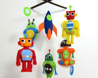 "Baby Mobile - Rocket Crib Mobile - ""Five Little Robots ""  - Handmade Nursery Mobile (Match your bedding)"