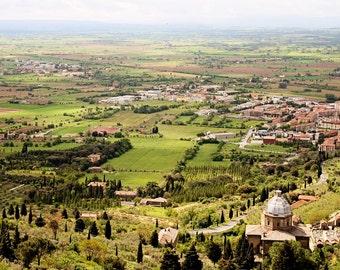 Tuscany Photography - Italy Landscape Print Italian Countryside Photo Cypress Trees Fields Tuscan Decor Travel Photograph Green Art