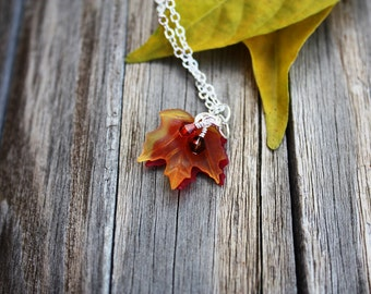 Fall Leaf Necklace, Maple Leaf Necklace Autumn Necklace Fall Necklace Maple Leaf Jewelry Autumn Leaf Jewelry Autumn Jewelry Fall Jewelry 006