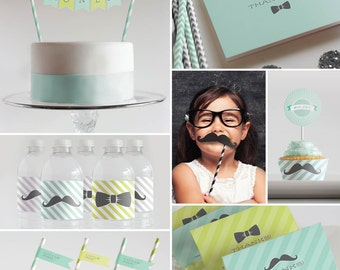 Printable Decorations, Straw Flags, Photo Props, Banner etc  // Baby Shower or First Birthday // Mint & Lime Mustaches + Bow Ties Collection