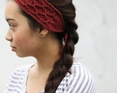 knit headband recycled TRELLIS - red sumac SECONDS DISCOUNT