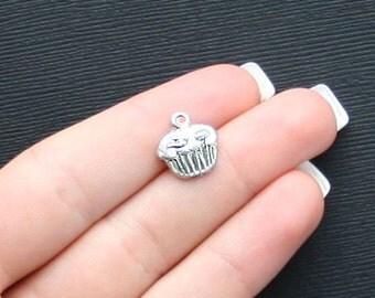 10 Cupcake Charms Antique Silver Tone - SC971
