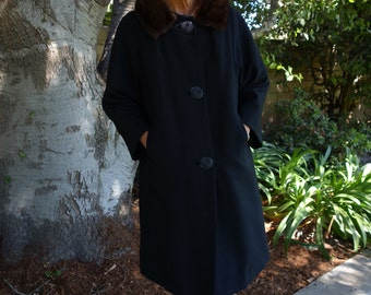 Charcoal Black Wool Mink Jackie O Vintage 1960's Coat