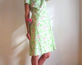 RESERVED: Pink and Green Paisley / Swirling Psychedelic Secretary Dress