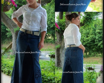 Custom Order Two Tone Long jean skirt with added flower detail to your size 1-2-4-6-8-10-12-14-16-18-20-22-24-26