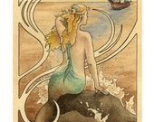"Mermaid sits on a water sprayed rock in the ocean and watches a ship approach, art nouveau border - Art Reproduction (Print) - ""Mermaid"""
