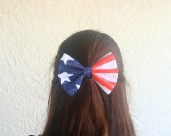 American Flag Hair Bow with Clip Rockabilly Pin up July Fourth Bow Girl Teen Woman Alligator Clip, French Barrette