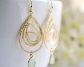 Gold Swirl Drop Pendant Mint Glass Drop Earrings. Sister Mother Gift, Wedding Bridal Earrings, Bridesmaids Gift, Modern Everyday Jewelry