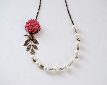 Dusky Red Flower Brass Bird Leaf Ivory Cream Pearls Necklace. Vintage Wedding Bridal Necklace, Bridesmaid Necklace Gift
