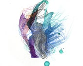"Element X - Giclee print - 8.5"" x 11"" / organic art print / contemporary art / watercolor abstract painting"