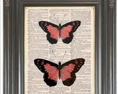 Pink Butterfly print on dictionary or music page Wall decor Digital print Dictionary art print Home decor Insect art Item No 676