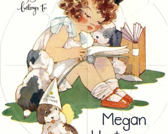 Personalized ADHESIVE Bookplate - Puppy Loves To Read Peel & Place - On The Sheet - Lovely Gift - Great for Baby Books