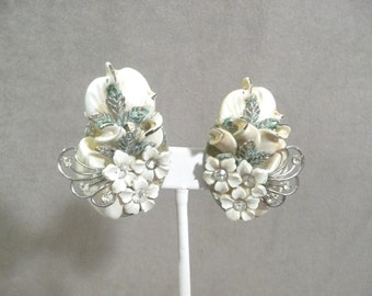Vintage White Floral Bridal, Statement Clip Earrings