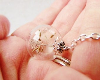 Dandelion Wishing Orb Necklace, Small Orb In Silver or Bronze, Bridesmaid Jewelry