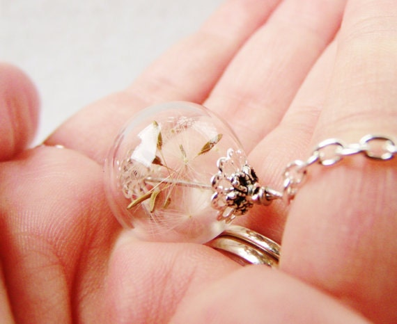 Dandelion Seed Blown Glass Orb Terrarium Necklace, Small Orb In Silver or Bronze, Bridesmaids Gifts, Nature Lover Jewelry